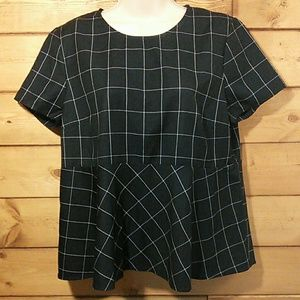 J Crew | Structured Peplum Top Windowpane Check M